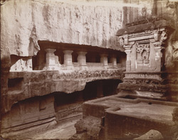 [The Lankeshvara Shrine from the Kailasa, Hindu Cave XVI (Kailasanatha), Ellora.]